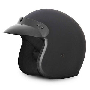 3/4 flat dull black helmet motorcycle MEDIUM DOT Cruiser Daytona