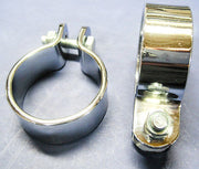 "Muffler clamps 1 5/8"" motorcycle exhaust clips chrome clamp set of 2"