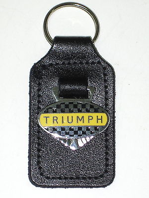 Triumph Checkered key fob chain ring chrome badge made in England