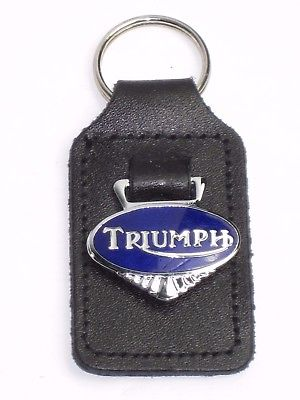 Triumph blue chrome key fob chain ring chrome badge made in England