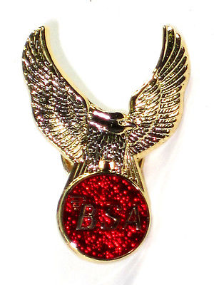 BSA eagle lapel pin red gold badge Made in England Classic British motorcycles