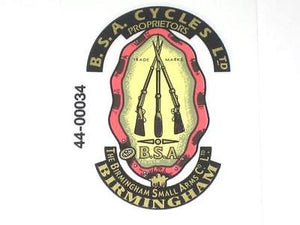 BSA piled arms decal full color side cover stacked rifles pre-unit Cycles