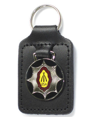BSA piled arms stacked rifles key fob chain ring badge Made in England Lightning