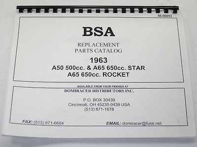 BSA A65 650 Replacement Parts List manual book 1963 Rocket Star