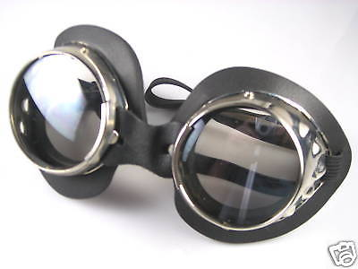 Goggles chrome clear lenses motorcycle welding style lens steam punk burning man