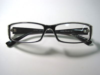 Reader style glasses clear UV lens black and clear frames