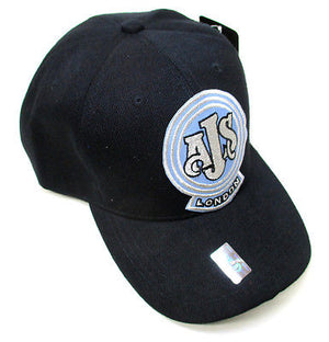 AJS hat vintage motorcycle baseball ball cap black and blue NEW adjustable back