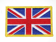 "Union Jack British Flag embroidered Patch 2"" x 3"" gold outline"