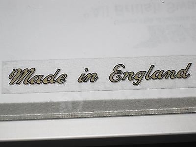 Made In England script gold vinyl peel stick decal Triumph Norton BSA motorcycle