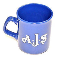 AJS Mug 10oz coffee cup ceramic motorcycle logo A.J.S Blue UK Made