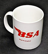 BSA Mug 10oz coffee cup ceramic motorcycle logo White Red UK Made