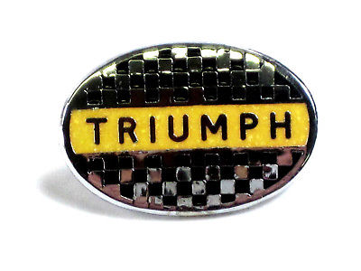 Triumph checkered flag oval yellow black lapel pin badge Made in England