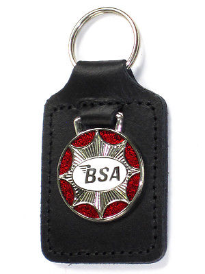 BSA star burst key fob chain ring badge red chrome white Made in England