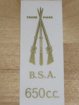 BSA 650cc piled arms decal side cover stacked rifles pre-unit A65