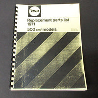 BSA B50 500 Replacement Parts Catalogue spares list manual book 1971 00-5721