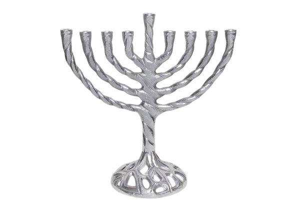 Menorah with Elegant Twisted Branch a Traditional Shape and Interesting Base