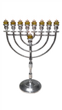 "24"" Chanukah Menorah for Home or Shul - Silver Aluminum"