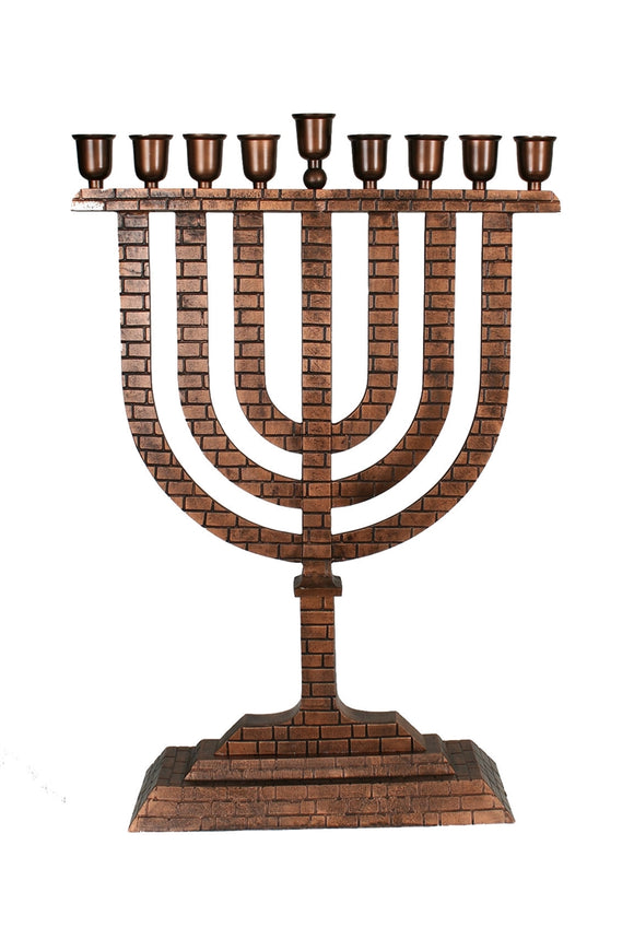 Large Menorah Copper with Ingrained  Brickwork Motif 36