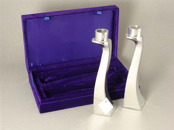 Pair of Polished Aluminum Shabbat Candle Holders in gift Box
