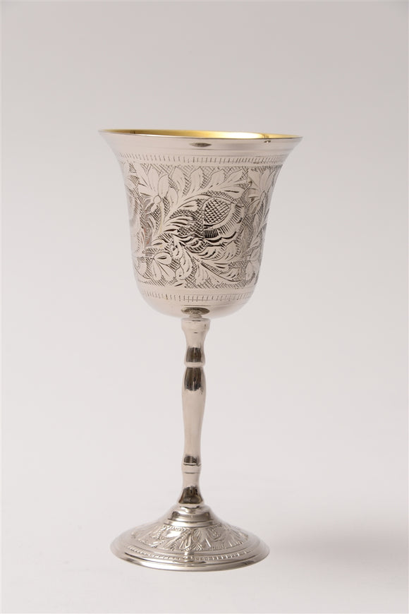 Floral Motif Kiddush cup with Flare Out Top