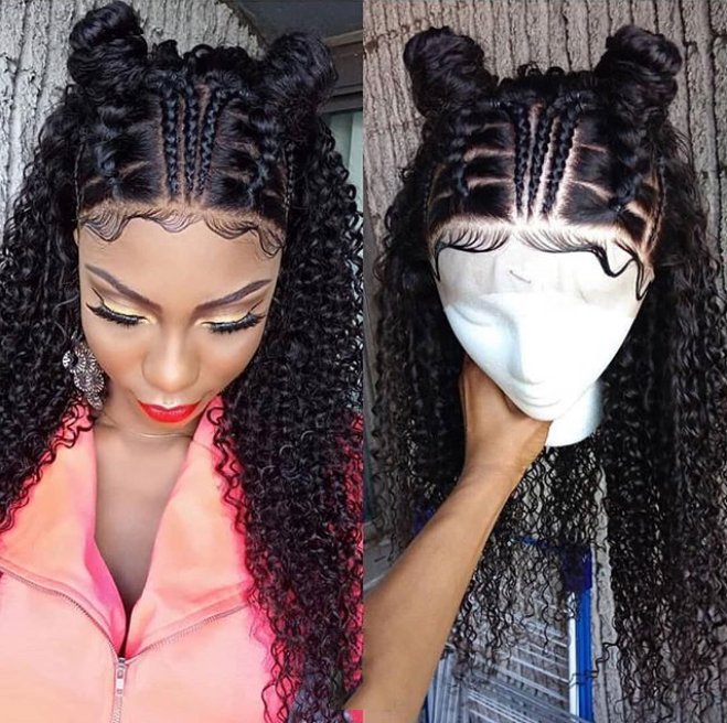 2019 latest design,African hair Front Lace braid Curly Hair Wig