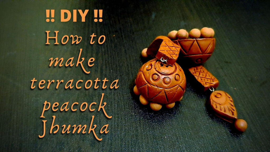 How to make terracotta peacock jhumka
