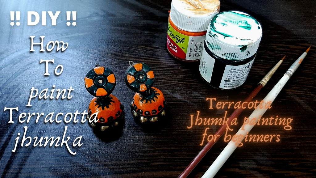 How to paint handmade terracotta Jhumka Jhumki for beginners!!