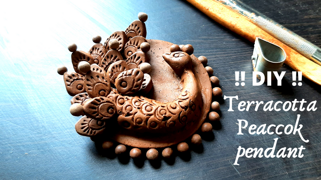 How to design Terracotta Jewellery peacock pendant without mould !! DIY !! Peacock pendant