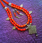 Handmade Necklace Set orange and red Beads Double Layer Oxidised Jewellery Necklace