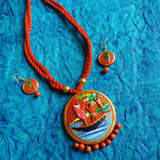 Terracotta Jewellery red round painted pendant