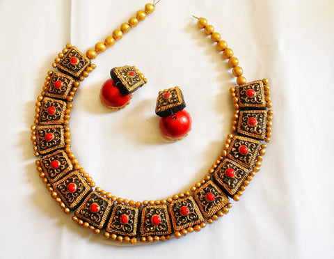 Terracotta Necklace Set choker with Jhumka