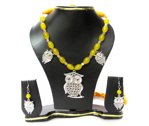 Oxidised Jewellery Yellow beads owl Pendant Necklace set for women and girls