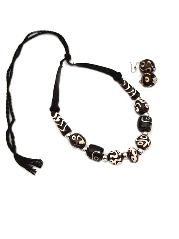 Buy Online Trendy Black Beads Necklace Set - Samreedhi handicrafts