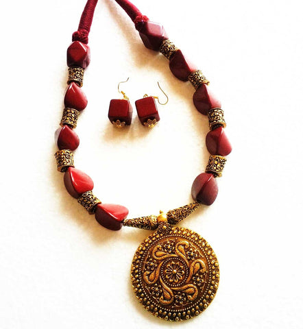 Oxidise Jewellery Set Maroon Beads long Necklace
