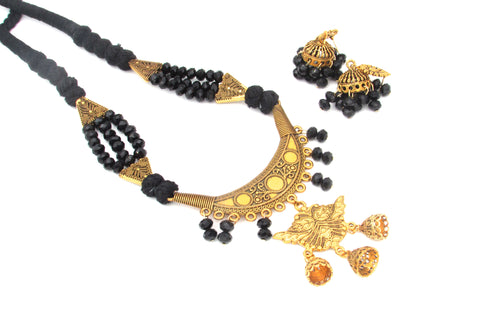 Buy Online Golden Oxidised Jewellery Set with black crystal beads - Samreedhi Handicrafts