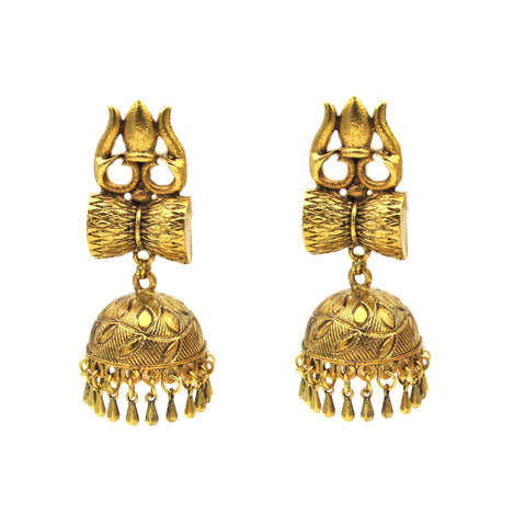 Buy Online Golden oxidised trishul big jhumka jhumki - Samreedhi Handicrafts