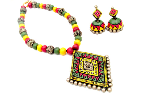 Buy Online Multicolor Square Pendant Design Long Necklace Set - Samreedhi Handicrafts