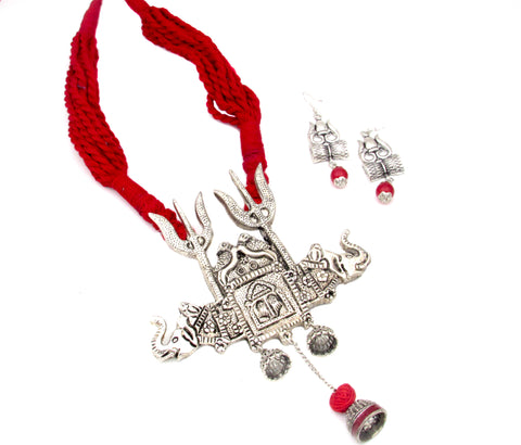Buy Online Oxidised Jewellery Set with grand Trishul Pendant 8- Samreedhi Handicrafts