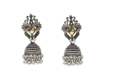 Buy Online Oxidised Jewellery yellow stone jhumka- Samreedhi Handicrafts
