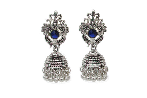 Buy Online Oxidised Jhumka jhumki blue stone for women - Samreedhi Handicrafts