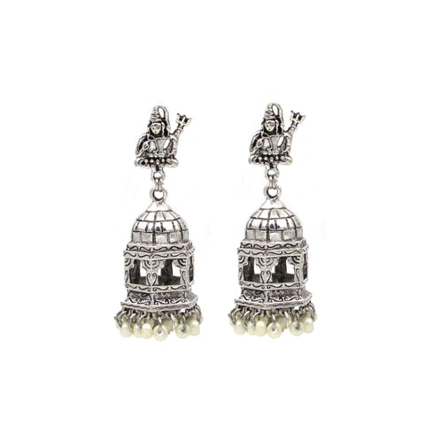 Buy Online Oxidised Lord Shiva temple jhumki jhumka for women - Samreedhi Handicrafts
