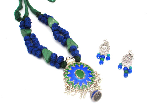 Buy Online Oxidised blue Jewellery Set with round shape pendant - Samreedhi Handicrafts
