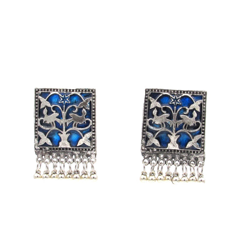 Buy Online Oxidised blue minakari studs for women - Samreedhi Handicrafts