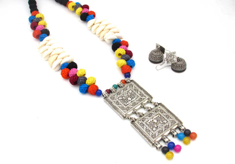 Buy Online Oxidised multi color jewellery set with double layer pendant - Samreedhi handicrafts