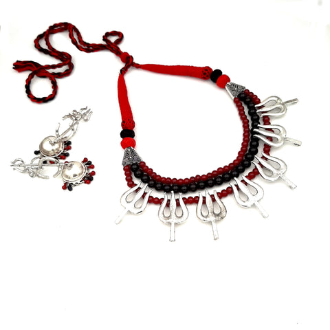 Buy Online Oxidised three layer choker Trishul necklace set - Samreedhi Handicrafts