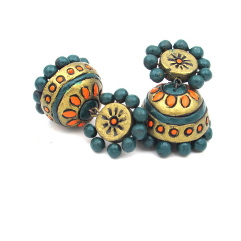 Buy Online Terracotta Flower Design Jhumka Jhumki 2- Samreedhi Handicrafts