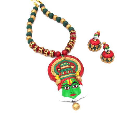 Buy Online Terracotta Jewellery Set Kathakali Pendant with Jhumka - Samreedhi Handicrafts