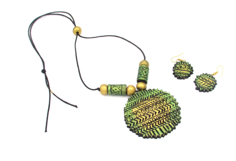 Buy Online Terracotta Jewellery Set with round textured pendant - Samreedhi Handicrafts