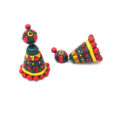 Buy Online Terracotta Jewellery conical jhumka jhumki 1- Samreedhi Handicrafts
