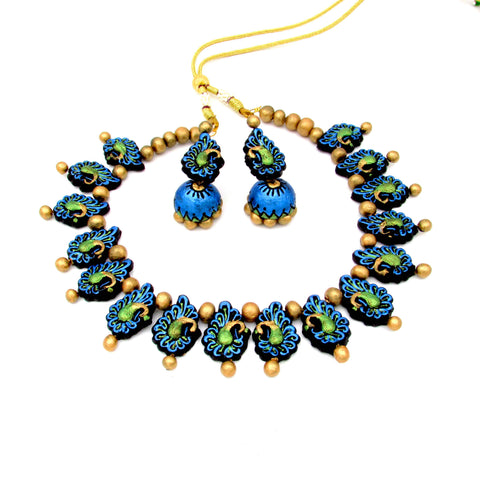 Terracotta Jewellery peacock choker necklace set